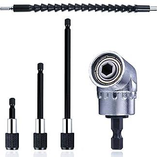 QISF-105-Winkelschrauber-Vorsatz-Adapter-Flexible-Schaft-Bits-Bohrer-Verlngerung295mm-3-Stck-Schnellwechsel-Bithalter-Set-14-Sechskantschaft-Magnetische-Bithalter–60-mm100-mm150-mm