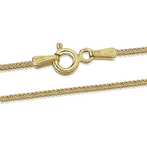 Amberta 925 Sterlingsilber 18K Vergoldet Damen-Halskette – Panzerkette – 1.3 mm – Verschiedene Längen: 40 45 50 55 60 70 cm