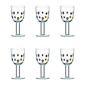 6er-Set-Leonardo-Weiweinglas-Millefiori-Bunt