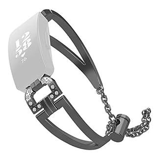 Lazzgirl-D-Wort-Metallkristalluhrenarmband-Handgelenk-Band-fr-Fitbit-spornenspornen-Stunde-anSchwarz