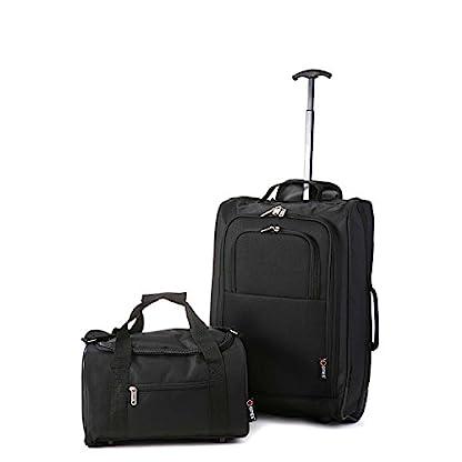 2X-Ryanair-Kabinengepck-55x40x20cm-2X-Reisetasche-35x20x20-Handgepck-Set-Nehmen-Sie-Beide-mit-Weinrot-Schwarz