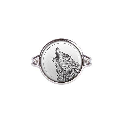 Mylery Ring mit Motiv Wolf Mond Heult Zeichnung silber verschiedene Größen