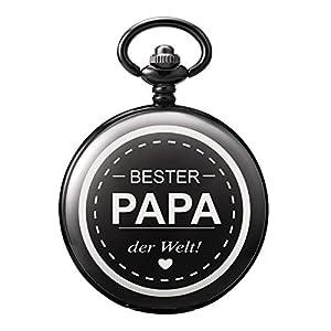 TREEWETO-Taschenuhr-mit-Gravur-Kette-Herren-Schwarz-Geschenk-zum-Geburtstag-Vatertag-Vater