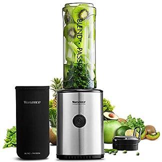 Willsence-Smoothie-Mixer-Smoothie-Maker-300-Watts-Standmixer-mit-BPA-Freier-Reiseflasche-und-Schutzhlle-und-Lebensmittelklingen-aus-rostfreiem-Stahl-Schwarz