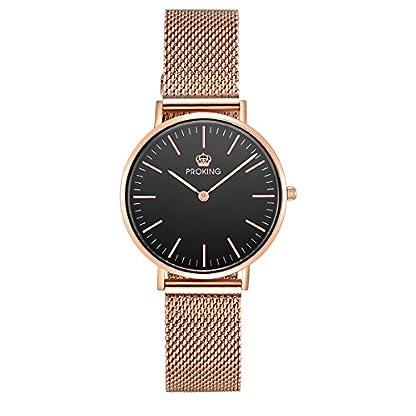 Damenmode-Armbanduhr-PROKING-Ultradnner-Quarz-Wasserdicht-Rosgold-Edelstahl-Saphirglas-Armbanduhr-fr-Frauen-Schwarz