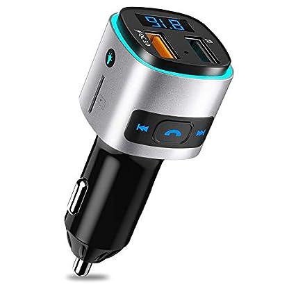 SONRU-Bluetooth-FM-Transmitter-Auto-Radio-Transmitter-Freisprecheinrichtung-KFZ-Audio-Adapter-MP3-Player-Auto-Ladegert-mit-QC30-USB-Port-LED-Anzeige-Untersttzt-U-Disk-TF-Karte-Buntes-Licht