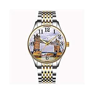 Uhren-Herrenmode-Japanisches-Quarz-Datum-Edelstahl-Armband-Gold-Uhr-London-Szene-Armbanduhren