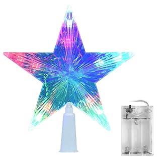 AsperX-Weihnachtsbaum-Stern-Mehrfarbiger-Christbaumspitze-Weihnachtsstern-Baum-Stern-Weihnachtsbaumspitze-Leichter-Batteriebetriebener-Stern-fr-Baumspitzer-Weihnachten16cm