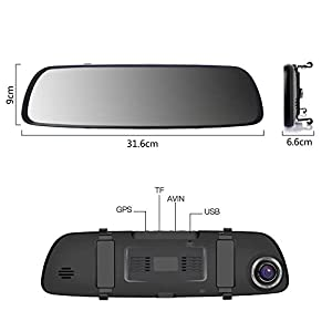 Dashcam-ILIHOME-Rckfahrkamera-Spiegel-Dual-Lens-7-1080P-Touchscreen-Autokamera-Frontkamera-mit-WDR-IP-67-Wasserdichte-Rear-Kamera-fr-Nachtsicht-geeignet-G-Sensor-Loop-Aufnahme-Parkberwachung