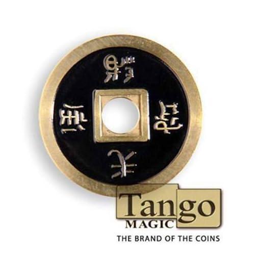 Chinese-coin-normal-Brass-Black-CH008Tango-Magie-mit-Tuch-Zaubertricks-und-Magie