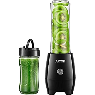 Aicok-Smoothie-Maker-Personal-Blender-mit-Travel-Portable-Flasche-Edelstahl-4-Blatt-fr-Shakes-und-Smoothies-Tritan-BPA-frei-300W