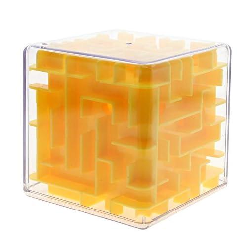 Zauberwrfel-Labyrinth-3D-Labyrinth-Puzzle-Spiel-Rollen-Spielzeug-Kind-Erwachsene-Gelb
