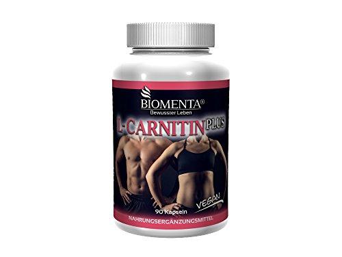 BIOMENTA L-CARNITIN PLUS – 1.000 mg L Carnitin vegan + GUARANA + BITTERMELONE + BIOFLAVONOIDE – 90 Carnitin Kapseln als Fatburner Kapseln zum Abnehmen
