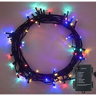 Lichterkette-Weihnachtsbeleuchtung-100-LED-MEHRFARBIG-Innen-und-Auen-Verwendung-8-Modi-mit-Memory-Timer-Funktion-batteriebetrieben-10m-33ft-Lit-Lnge-mit-1m-33ft-Lead-Wire-GRNES-Kabel
