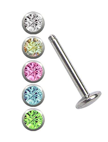 Stahl Piercing Set, ein Labret mit 4 mm Platte, 1,2 x 6 mm + 5 Kugeln in klar, multi, rosa, hellblau-türkis, hellgrün in 3 mm