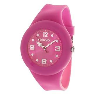 Nuvo-NU13H17-Unisey-Armbanduhr-vom-Armband-abtrennbar-Pinkes-Zifferblatt-Pinkes-austauschbares-Armband-aus-Silikon-Modisch-Elegant-Stylish