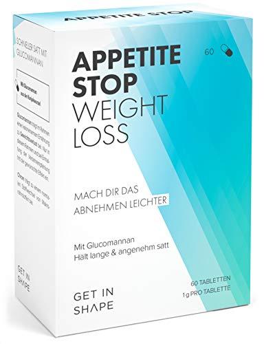 APPETITE STOP Abnehmtabletten mit Glucomannan aus der Konjak-Wurzel (1 Gramm pro Kapsel) – Abnehmen schnell und simpel mit dem Appetitzügler von Get In Shape