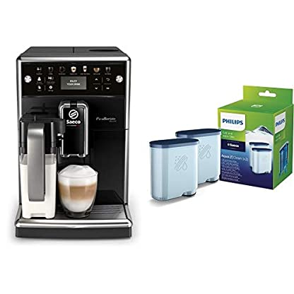 Saeco-SM557010-PicoBaristo-Deluxe-Kaffeevollautomat-LED-Display-integriertes-Milchsystem-schwarz-Philips-CA690322-AquaClean-Wasserfilter-fr-Saeco-und-Philips-Kaffeevollautomaten-Vorteilspack