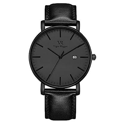 Vigor-Rigge-Edelstahl-Kratzfeste-r-Armbanduhr-Herrenuhr-mit-Datumsanzeige-Wasserdichte-Japanisches-Quarzwerk-VX32-Analog-Ultra-schlanke-Armbanduhren