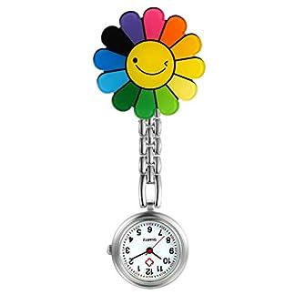 LANCARDO-Uhren-Krankenschwester-Armbanduhr-FOB-Uhr-Damen-Blumen-Lcheln-Taschenuhr-Analog-Quarzuhr-aus-Legierung