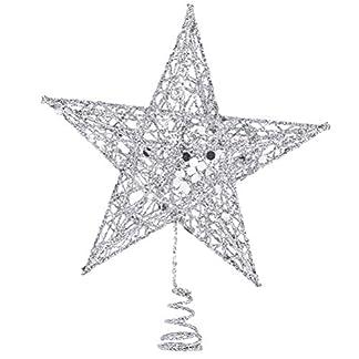 BESTOYARD-30cm-Weihnachtsstern-Baum-Topper-Glitter-Baumkrone-5-Spitzen-Glnzend-Baum-Ornament-Weihnachtsfeier-Decoartion-Silber
