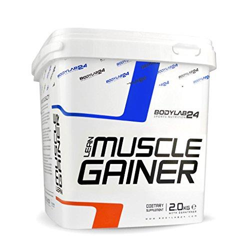 Bodylab24 Lean Muscle Gainer, hochwertige Kohlenhydrate zum Masseaufbau, Weight Gainer Pulver mit Eiweiß, Vanille flavor, 2 kg