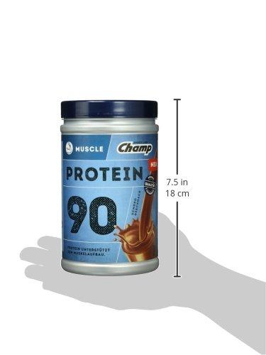 Champ Muscle Protein 90 Eiweißshake (390 g) – Protein Shake mit Schoko-Geschmack – Eiweißpulver mit 36 g Protein pro Portion – enthält Vitamine – ohne Aspartam