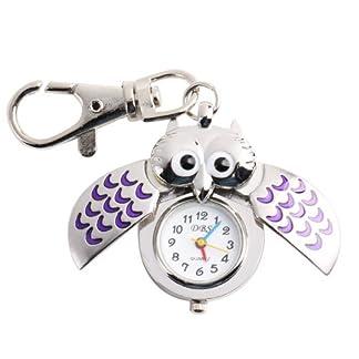 UNIQUEBELLA-Eulen-Schlssel-Anhnger-Eule-Uhr-BlauTaschen-Uhr-Schlsselanhnger-silber-Uhr-Geschenk-Xmas-Gift-Pocket-watch