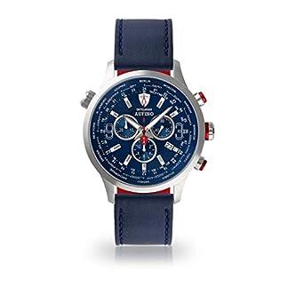 DETOMASO-AURINO-Herren-Armbanduhr-Chronograph-Analog-Quarz-Edelstahl-Silber-blaues-Zifferblatt-Leder-Silikon-Jetzt-mit-5-Jahre-Herstellergarantie