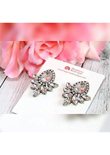Happiness Boutique Damen Statement Ohrringe in Silberfarbe | Große Auffällige Ohrstecker mit Strasssteinen Vintage Inspirierter Schmuck