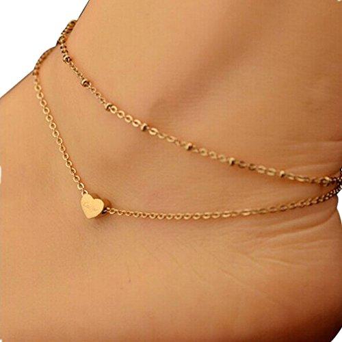 Sannysis Gold Elegantes Doppelkette Herz-Korn-Fußkettchen Knöchel-Armband Strand Fuss-Schmucksachen