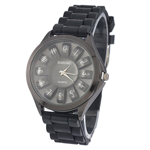 Souarts-Quarzuhr-Schwarz-Silikagel-Armbanduhr-aushhlen-Sonnenblume-Stil-mit-Batterie