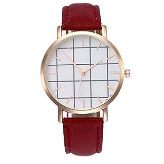 Godagoda-Unisexuhr-fr-Jungen-und-Mchen-Analog-Quarz-Armbanduhr-mit-Leder-Armband-und-Karo-Design-Zifferblatt-Uhr