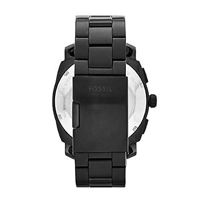 Fossil-Edelstahl-Uhr-fr-Mnner-Machine-mit-schwarzem-Ziffernblatt-weien-Indizes-blauen-Zeigern-Chronograph-mit-Datumsanzeige-im-zeitlosen-Industrial-Look