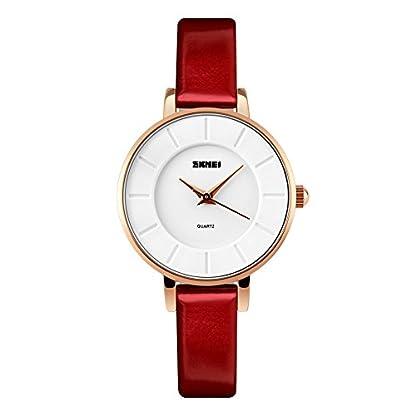 iWatch-Damen-Armbanduhr-Elegant-30m-Wasserdicht-Analog-Quarz-Uhr-Sportuhr-mit-Rot-Leder-Armband
