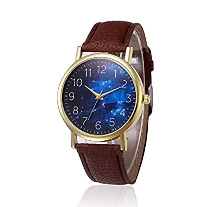 Godagoda-Herren-Armbanduhr-Leder-Glitzer-Sternhimmel-Muster-Deko-Wasserdicht-Quarzuhr-Geschenke