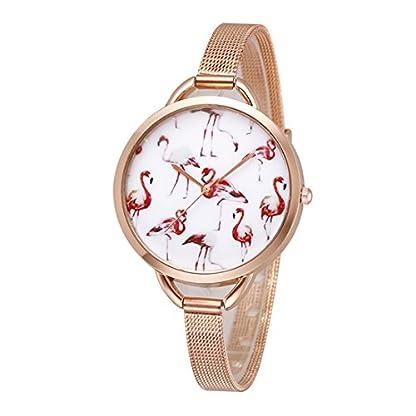 Souarts-Damen-Armbanduhr-Flamingo-Muster-Einfach-Mesh-Metallarmband-Casual-Analoge-Quarz-Uhr