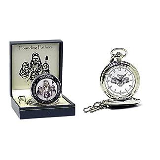 Runde-Indianer-taschenuhr-Founding-Fathers-in-Geschenkbox-Uhr