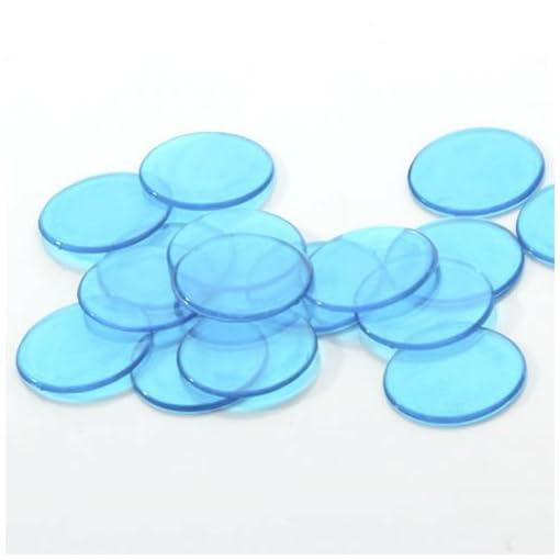 100-Stk-Klar-Blau-Plastik-Bingo-Chips-34-Inch