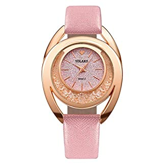 Womens-Crystal-Quarz-Uhren-Javpoo-YOLAKO-Lssige-Quarz-Lederband-Armbanduhr-Analoge-Armbanduhr-Runde-Zifferblatt-Gehuse-Glnzende-Armbanduhr-Valentinstag-Geburtstagsgeschenk