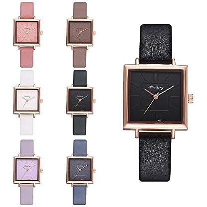 Lazzgirl-Mode-Frauen-Handgelenk-Leder-Uhr-Luxus-Quarz-Edelstahl-UhrSchwarz-Wei-Rosa-Gold-Lila
