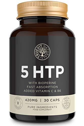5 HTP Hochdosiert – 30 Serotonin Kapseln mit Griffonia Simplicifolia Extrakt 200mg – Konzentrations Pillen angereichert, Vitamin C & Vitamin B6 – pflanzliches Schlafmittel