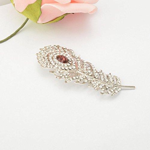 Vintage-Kristall-Diamant Feder Brosche Schmuck Geschenk Silber