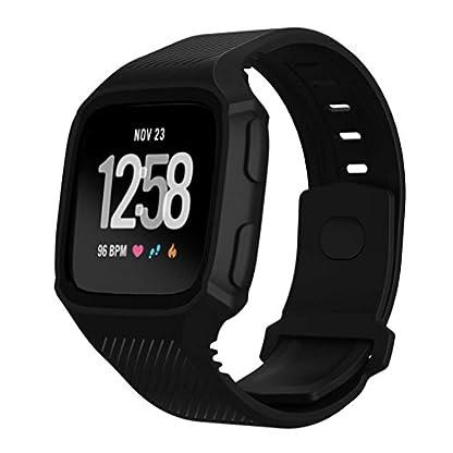 Uhrenarmband-Mit-robuster-Schutzhlle-fr-Fitbit-Versa-UhrVNEIRW-Silikagel-Ersatz-Watchband-Amazfit-Armband-Ersatzarmband-Uhrenband-Uhrenarmbnder