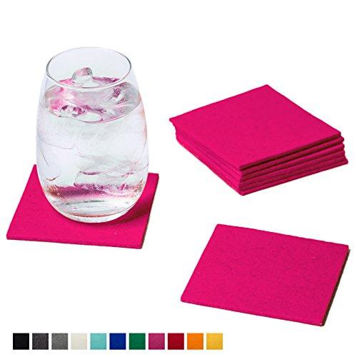 Smacc Filzuntersetzer, quadratisch 8er Set (Farbe wählbar) – Glasuntersetzer aus 100% Schafwolle, Untersetzer für Bar und Tisch Einrichtungsideen als Tischdeko (Pink)