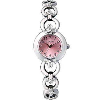 Time100-rundes-Zifferblatt-Damenuhr-Edelstahl-Armbanduhr-mit-Hakenschloss-Quarz-Analog-Schwarz-W50053L