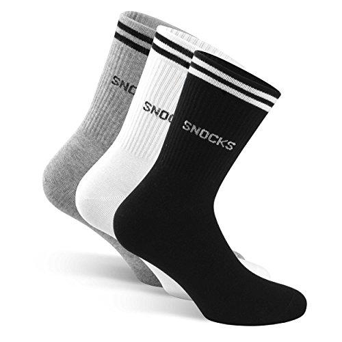 SNOCKS Damen & Herren Retro Socken Streifen (4 Paar) Gr. 35 – 50 (Farben: Schwarz, Weiß, Grau) – Baumwolle