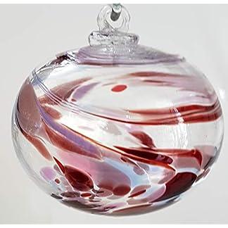 Oberstdorfer-Glashtte-Kugel-zum-hngen-Dekokugel-Fensterkugel-Bunte-Glaskugel-Ornament-violett-rot-klar-Fensterdekoration-mundgeblasenes-Kristallglas-Durchmesser-ca-11-cm