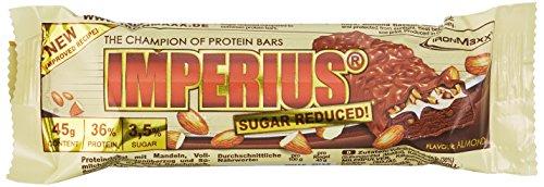 IronMaxx Imperius Sugar Reduced Protein Riegel / 36% Eiweiß, nur 1,5% Zucker pro Riegel und wenig Kohlenhydrate / Schokoriegel mit 100% Geschmack / Mandel / 1er Pack (1×1,08kg) / 24x45g