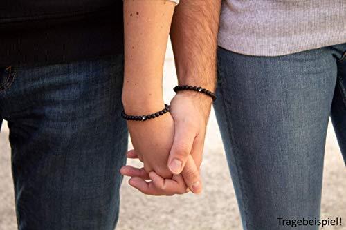 Sadingo Partnerarmbänder, Pärchen Armband, Paar Armband mit Buchstaben matt schwarzes Perlen Armband, Couple Armband